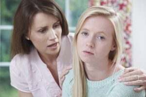 mother talking to daughter about drug abuse